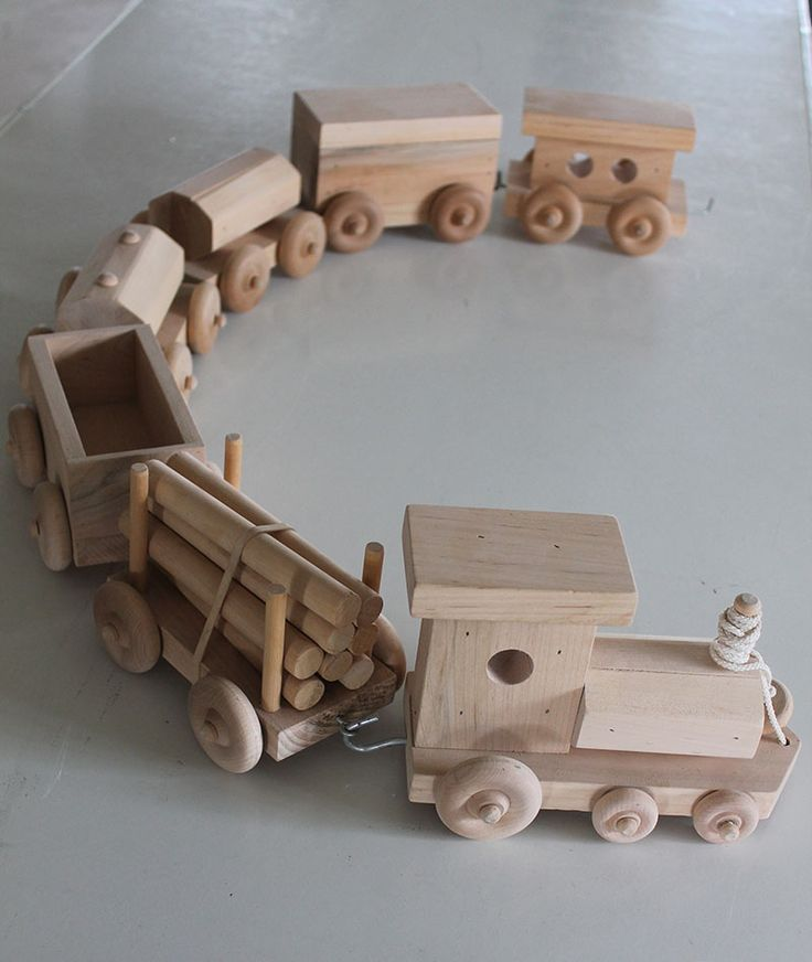 USA Amish handcrafted wooden toy train set.