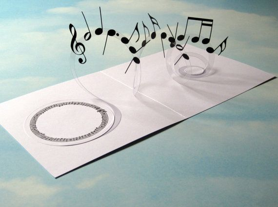 Música tarjeta espiral Pop - notas musicales tarjeta 3D - emergente tarjeta