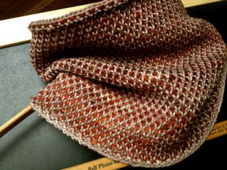 """This cowl uses a modified version of the half linen stitch pattern that looks great on both the """"right side"""" and """"wrong side"""" of the work."""