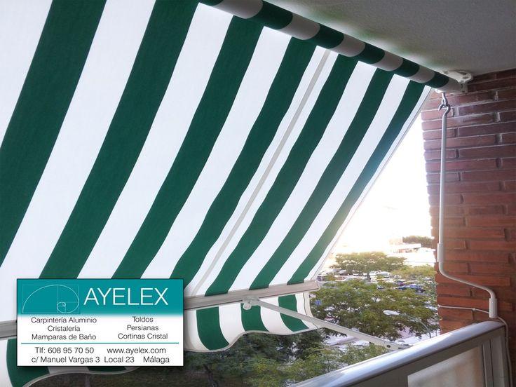 Instalación toldo terraza stor Lacado en blanco, tejido verde N. Instalación en Barriada el Torcal (Málaga) www.ayelex.com