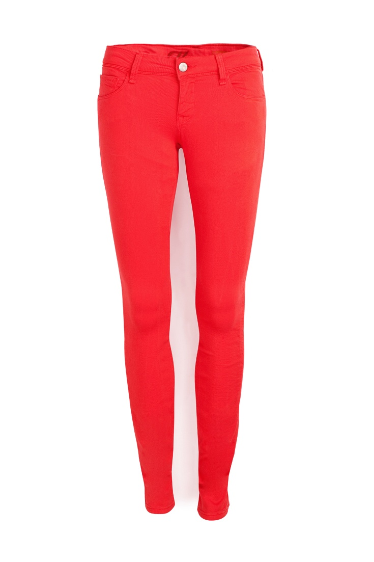 COLOURED JEANS | Demin needn't always be blue - red jeans work with almost every colour in your wardrobe.