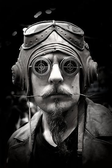 Steampunk Mad Capper? He looks so very serious. This steam punk portrait looks neato in Black and White!