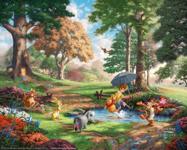 Thomas Kinkade Winnie the Pooh I - There were few if any books or films that influenced Thom as a young boy more than these stories detailing the adventures of Christopher Rob...