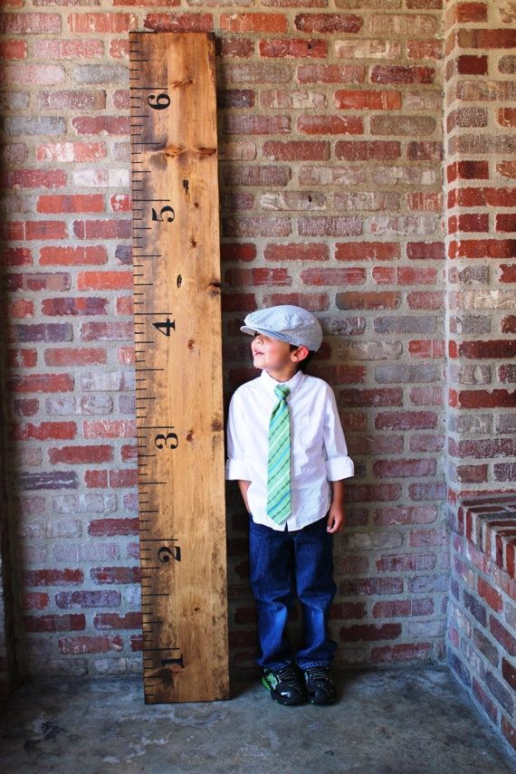 Growth Ruler (I want to ask my husband to make one of these so I can mark the boys' heights as they're growing up...some childhood friends of mine put marks on their kitchen wall which I loved but this would be transportable which is even better!)