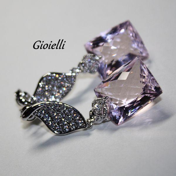 Купить Серьги Розовый топаз (гидротермальный), серебро,цирконий. - украшения ручной работы, авторское украшение