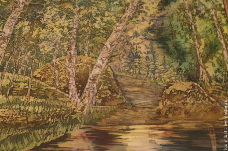Купить Утро - зеленый, Батик, батик картина, выставка, атлас, пейзаж, природа, лес, березы