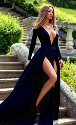 Sexy Prom Dress, Prom Dress with Long Sleeves, Prom Dress with Split Front, Royal Blue Prom Dress