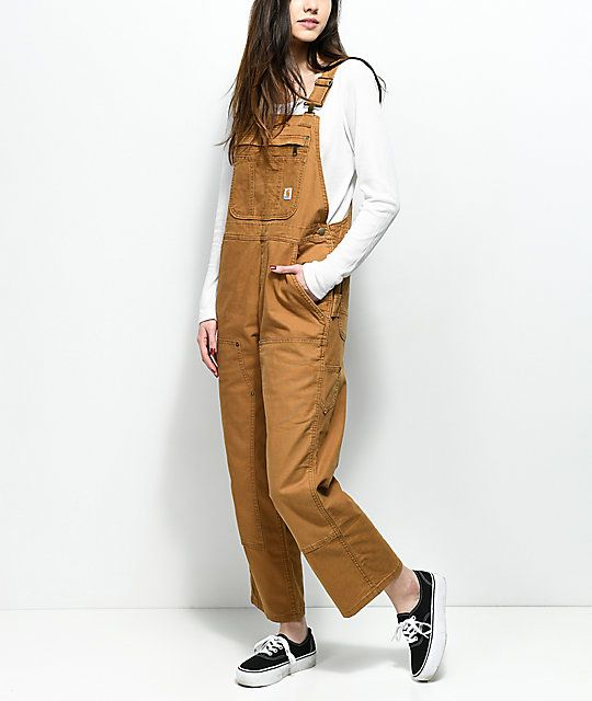 fee9bb263321 Carhartt Crawford Double Front Bib Brown Overalls