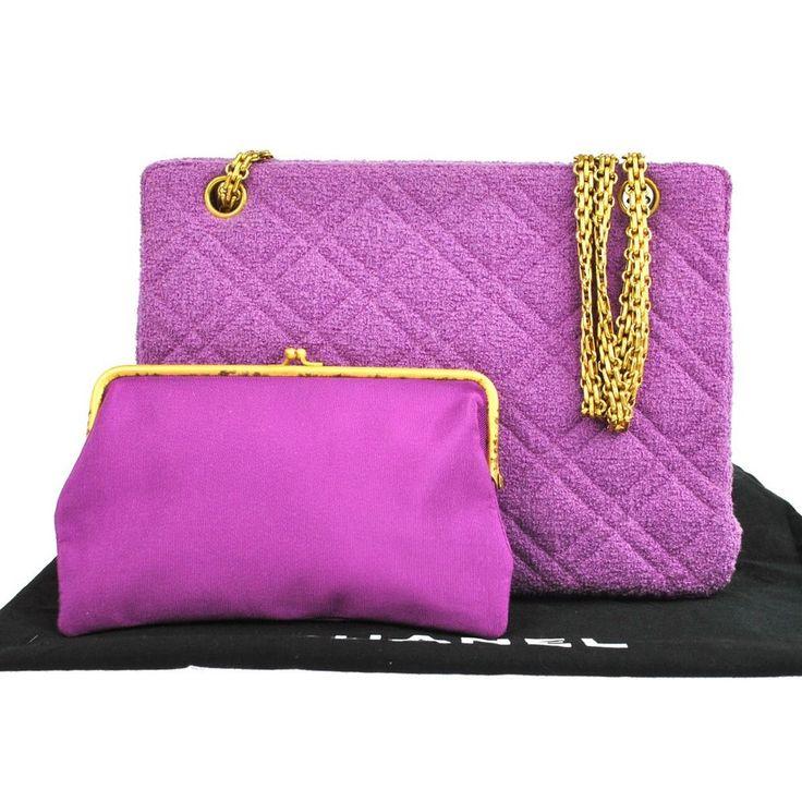 auth chanel cc logo quilted chain shoulder bag purple pile france vintage r08167 shoulder bags. Black Bedroom Furniture Sets. Home Design Ideas