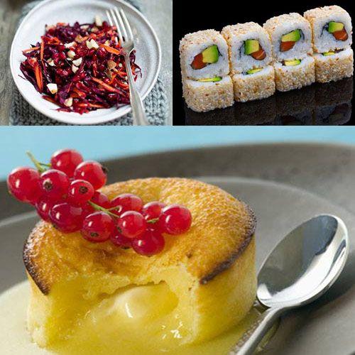 PasseZ un week-end gourmand AVEC CES 3 recettes de saison :  Salade multivitaminée, Makis california à l'avocat et au saumon, Moelleux au coeur coulant chocolat blanc.