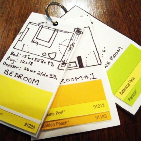 Genius. A flip stack of cards with room dimensions and paint chips.  So handy when picking furniture and textiles.