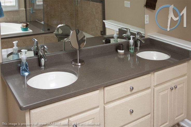 This two sink vanity uses utilizes caesarstone in lagos blue slick bathrooms pinterest - Caesarstone sink kitchen ...