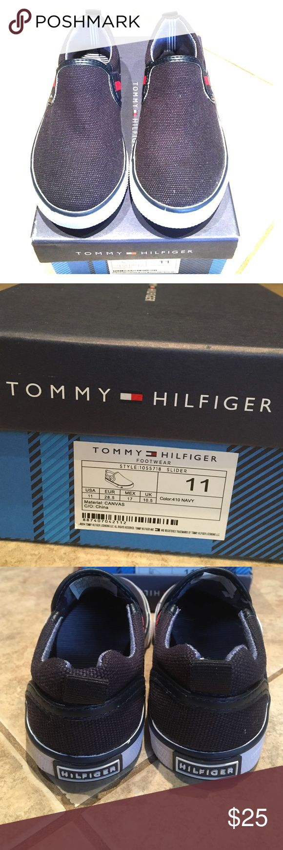 Brand New In Box!!! Tommy Hilfiger Canvas Slider Brand New In Box Little Boy's Tommy Hilfiger Dennis Slider Canvas Sneaker, Size 11, Navy Blue. Never worn. Box is ripped a little on one corner, but closes fine. Smoke/pet free household. Tommy Hilfiger Shoes Sneakers