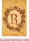 R - Vine / Berries Monogram Garden Flag