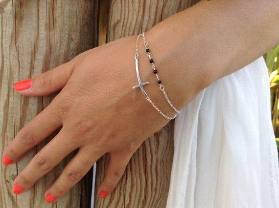 Sideways cross bracelet beaded bracelet by JewelryFamousWorld