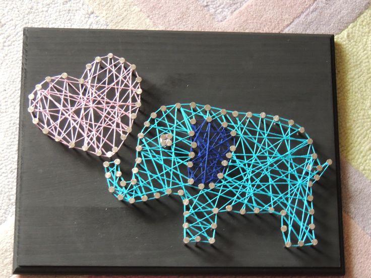 Elephant Family string art! DIY | String art | Pinterest