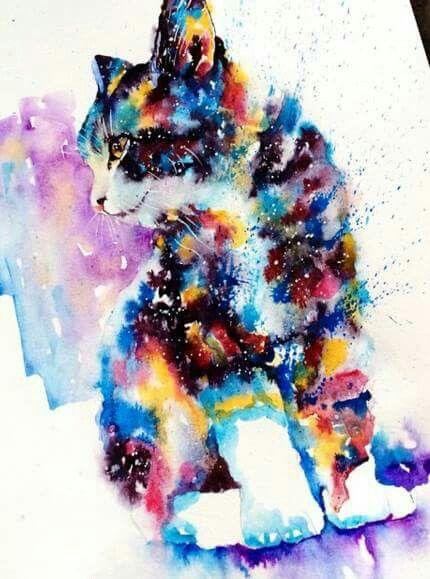 Arte-art /dibujo en aguadas-gato . cat