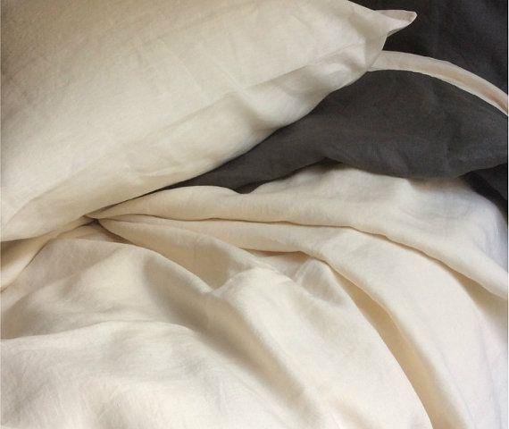 Linen bed sheets in cream linen cream by CustomLinensHandmade