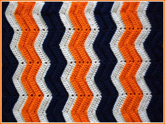 Handmade Crochet Navy, Orange and White Chicago Bears/Denver Broncos Baby Blanket on Etsy, $15.00