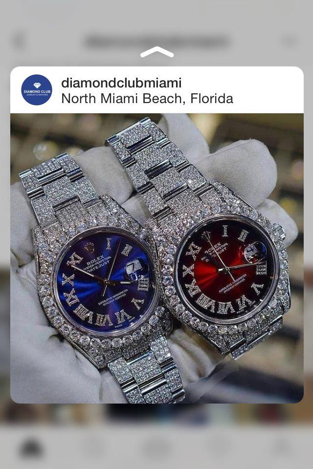Diamonds Watches Rolex Red Face Watch Blue Face