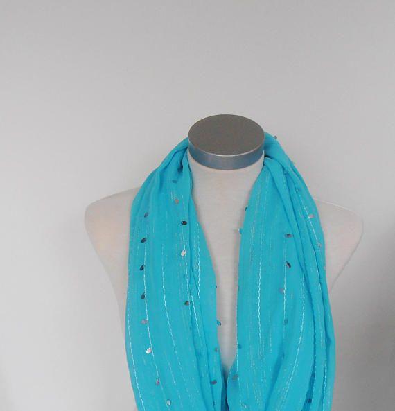 feest sjaal blauw met glitter zomersjaal tunnelsjaal