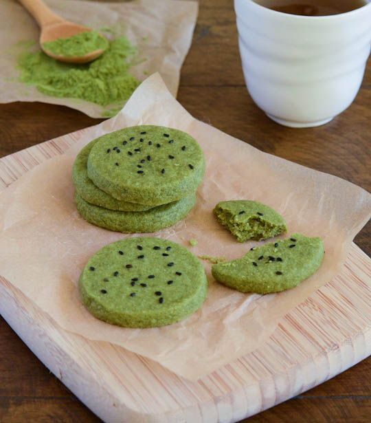 Green Tea Shortbread Cookies. Making these to go with a Teacher Appreciation sushi lunch. Green tea powder difficult but not impossible to find.
