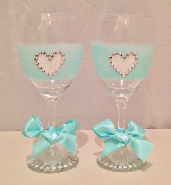 A Set of Two Hand Painted Decorative Wine Glasses by LauraLovelies, £10.00