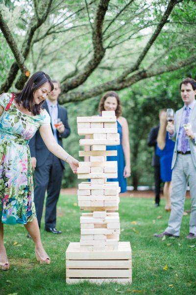 Jenga: http://www.stylemepretty.com/little-black-book-blog/2015/01/16/rustic-elegance-at-old-edwards-inn/ | Photography: Natalie Watson - http://www.nataliewatsonphotography.com/