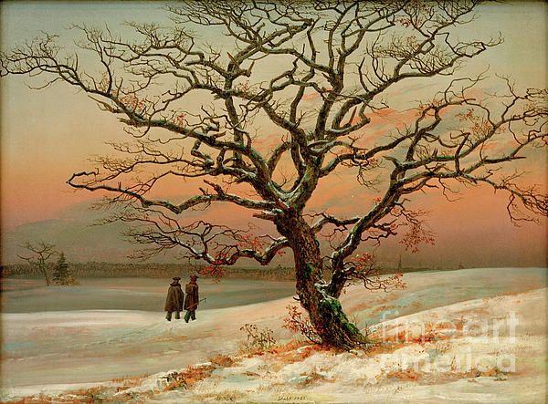 The Old Oak Tree In Winter By Johan Christian Clausen Dahl Live Oak Tree Tattoo Oak Tree Tattoo Old Oak Tree