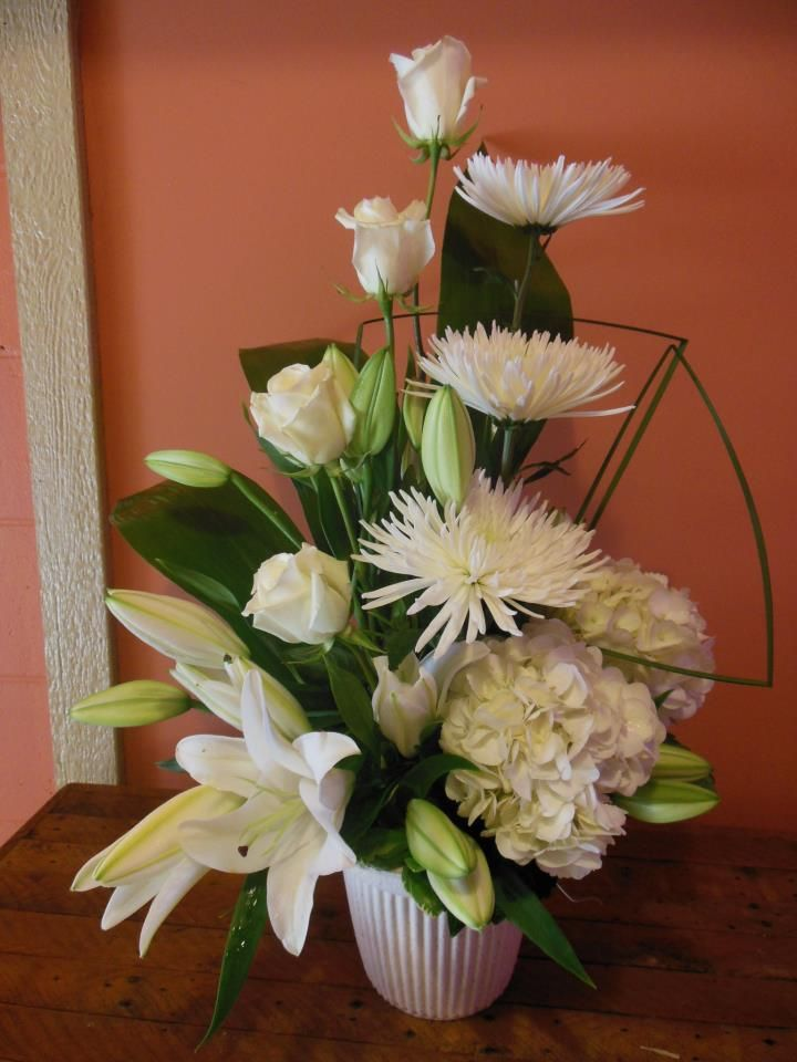 Funeral arrangement by Back to the Fuchsia Flowers, Saugatuck MI