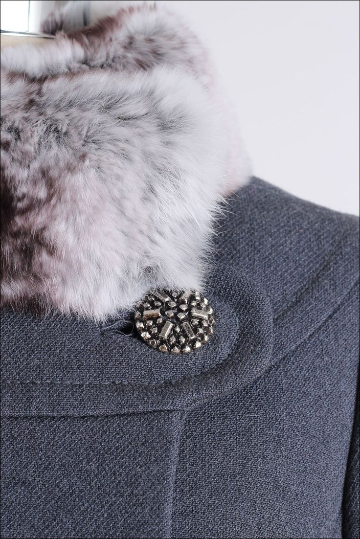Vintage 1960's Wool and Chinchilla Fur Coat | From a collection of rare vintage coats and outerwear at https://www.1stdibs.com/fashion/clothing/coats-outerwear/