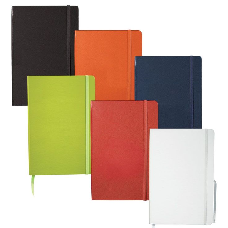 Ambassador bound JournalBook with built-in elastic closure and ribbon marker. Includes 80 sheets of lined paper.