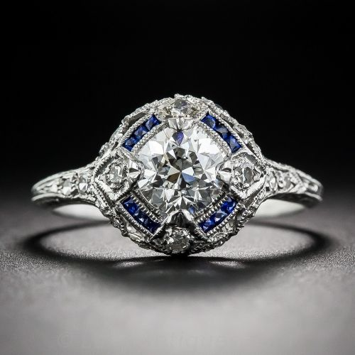 .90 Carat Diamond and Calibre Sapphire Art Deco Engagement Ring