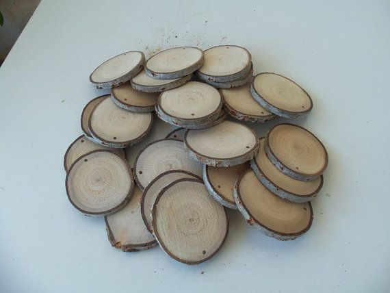 NEW - 25 Blank White Tree Branch slices,Drilled - Tags Supplies - Wedding Supplies - Jewelry Supplies-Christmas decor - 2 1/2 in diameter.