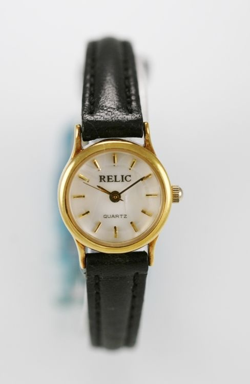 Relic Watch Womens White Water Resist Stainless Gold Steel Leather Black Quartz