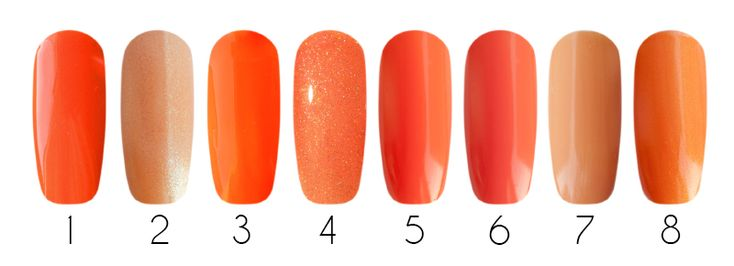 Orange  1- CND Shellac, гель-лак (Electric Orange #90514), 7,3 мл 2- EL Corazon, лак для ногтей (Shine of Jewels #627), 16 мл 3- IBD Just Gel Polish, гелевый лак (Infinitely Curious #19400/29), 14 мл 4- Bluesky Shellac, гель-лак (PCH07), 10 мл 5- EL Corazon, лак для ногтей (Красотека #Kr-01), 15 мл 6- Milv, лак для ногтей (#30), 16 мл 7- Milv, лак для ногтей (#29), 16 мл 8- Gelish Harmony, гель-лак mini (Orange Cream Dream  01531), 9 мл