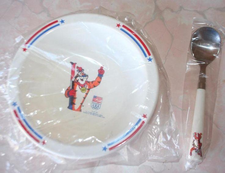 Vintage 1992 Kelloggs USA Olympic Sponsor Tony The Tiger Cereal Bowl & Spoon #Kellogg