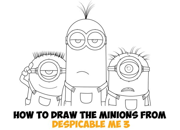 Today I'll show you how to draw cute Minions characters from the newest Despicable Me 3 movie that is out this Summer. I think the characters are Jerry, Kevin, & Carl, but I can't find anywhere were I can find out for sure. Either way, these Minions are in jail / prison and want to be drawn. Help them out. Have fun and Happy Drawing!