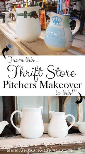 Thrift Store Pitchers Makeover DIY Tutorial! These are so pretty! Look for pitchers you can makeover when you shop Goodwill! www.goodwillvalleys.com/shop/