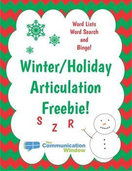 FREE Holiday - Christmas - Winter Articulation Activities