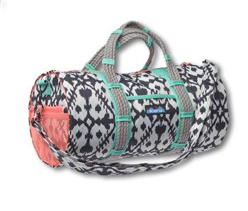 """KAVU Bitsy - Ink Blot - Small duffle with adjustable shoulder strap and two fixed rope hand straps, one main compartment with zip closure , two exterior side pockets, and one interior zip pocket. Dimensions: 8.5"""" x 17"""" x 8.5"""". Fabric: 12oz cotton canvas / 600D polyester."""