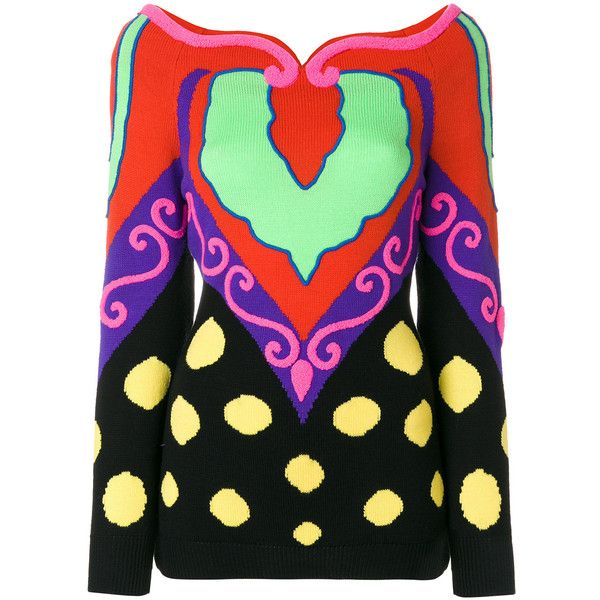 Versace Vintage intarsia jumper ❤ liked on Polyvore featuring tops, sweaters, versace sweater, versace top, versace jumper, versace and jumper tops
