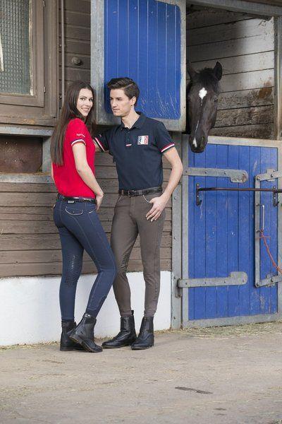 """Pantaloni equitazione uomo Equi-thème modello """"Verona"""" adatti a tutte le stagioni, traspiranti ed elasticizzati 60% cotone, 33% poliammide, 7% spandex con con toppe in silicone alle ginocchia."""
