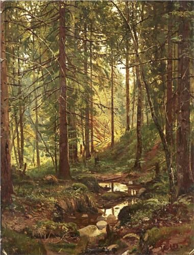 Stream by a Forest Slope - Ivan Shishkin