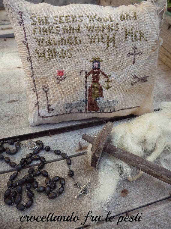 primitive cross stitch proverbs 3113  by primitiveacorns on Etsy, €5.00