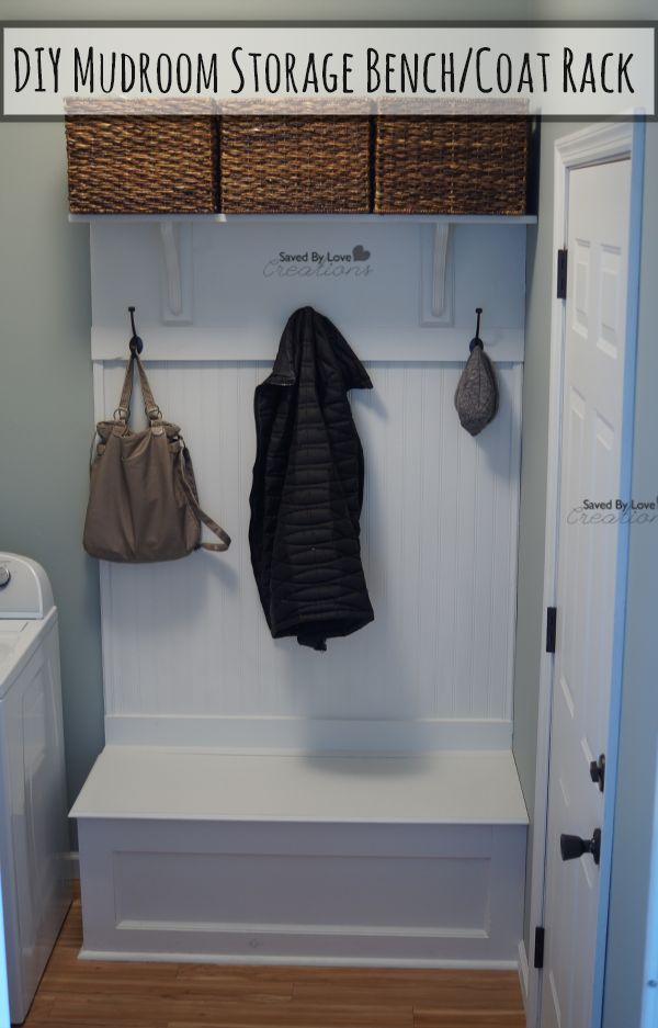 Diy mudroom storage bench and coat rack amazing diy Mudroom bench and coat rack