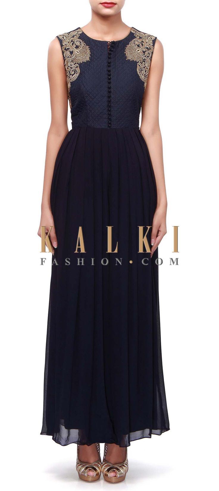 Buy Online from the link below. We ship worldwide (Free Shipping over US$100). Product SKU - 272243. Product Link - http://www.kalkifashion.com/navy-blue-jumpsuit-adorn-in-zardosi-embroidery-only-on-kalki.html