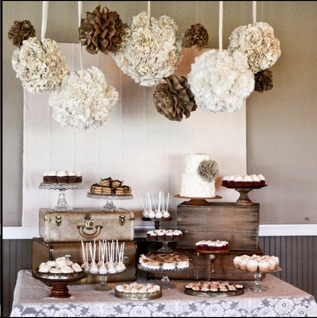 Burlap and lace decor. And the dessert table.  For more lace inspiration: www.facebook.com/labolaweddings