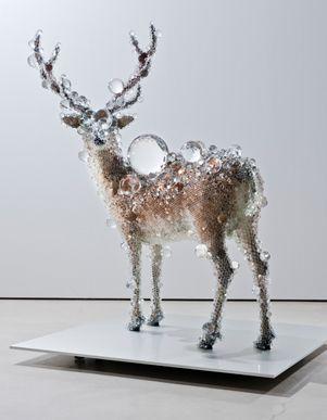 Kohei Nawa, PixCell Deer, 2011, taxidermized deer, plastic beads.