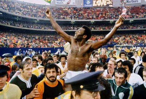 Pele's Final Match. The greatest footballer of all time is carried off the field after playing in his last game, a specially organised clash between Pele's final team, the New York Cosmos, and Santos, his home town club.